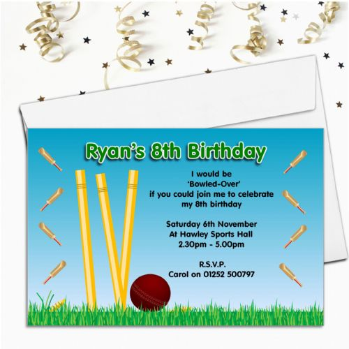 10 Personalised Cricket Birthday Party Invitations N46